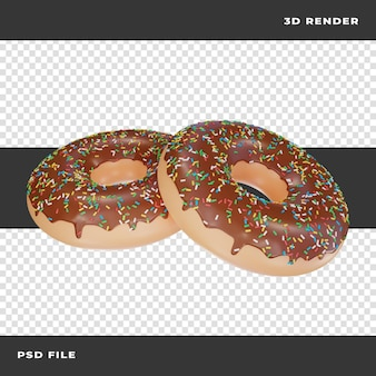 Donuts de chocolate 3d renderizados em fundo transparente