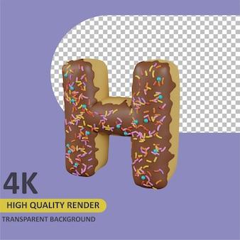 Donuts letra h cartoon renderização modelagem 3d