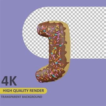 Donuts letra j cartoon renderização modelagem 3d
