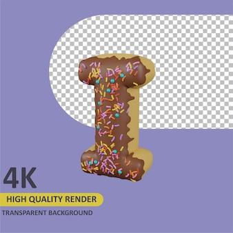 Donuts letter i cartoon renderização modelagem 3d