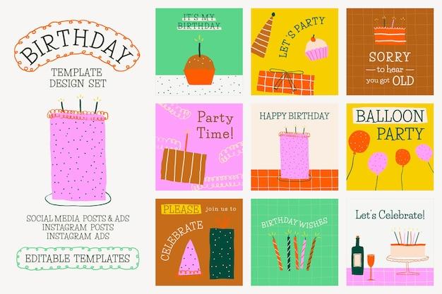 Doodle modelo de festa de aniversário psd fofa mídia social post conjunto