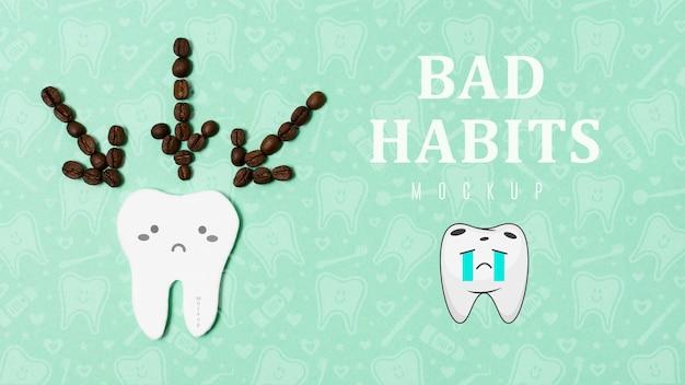 Dor de dente com maus hábitos com maquete
