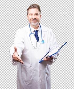 Doutor homem com um inventário