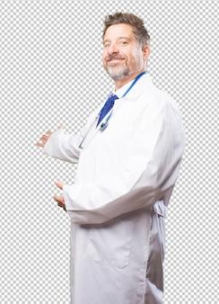 Doutor homem fazendo um gesto de boas-vindas