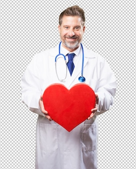 Doutor homem segurando um coração