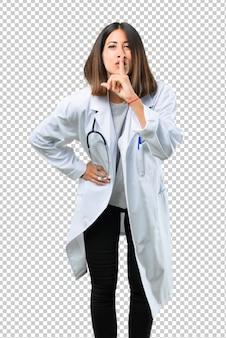 Doutor, mulher, com, estetoscópio, mostrando, um, sinal, de, encerramento, boca, e, silêncio, gesto