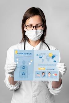 Doutor, segurando o modelo de coronavírus