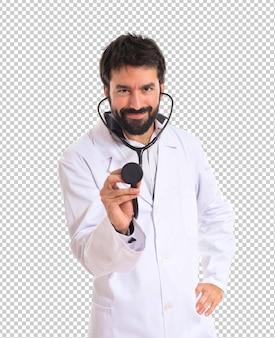 Doutor, sobre, fundo branco