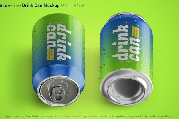 Duas bebidas de alumínio brilhante podem maquete realista de 330 ml com gotas de água