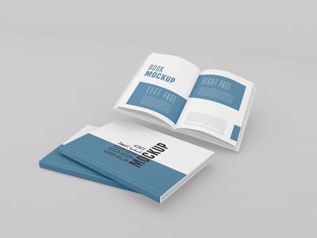 Duas capa dura com maquete de livro aberto
