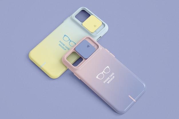 Duas capas de smartphone com maquete de proteção de câmera