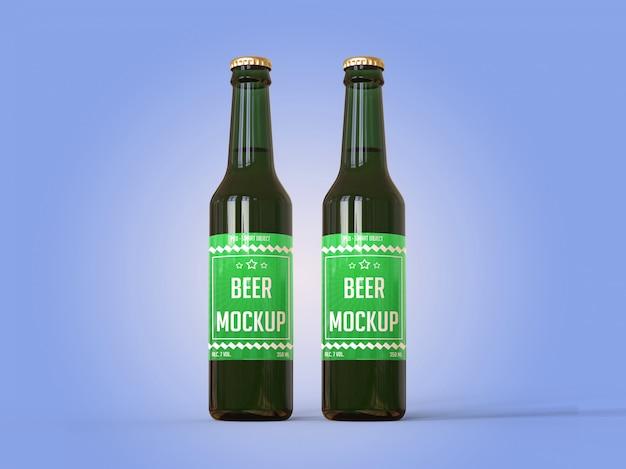 Duas garrafas de cerveja com uma maquete de rótulo