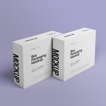 duas maquetes de caixas em pé