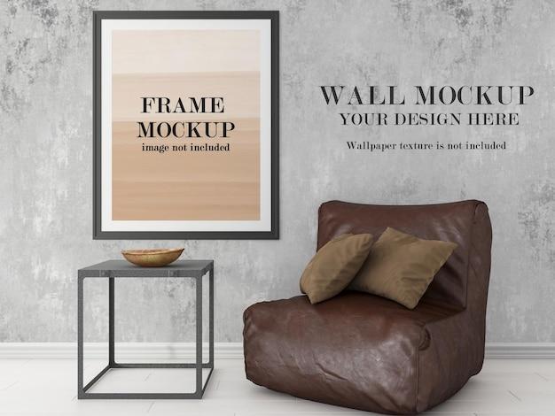 Duas maquetes em uma cena de design de parede e moldura
