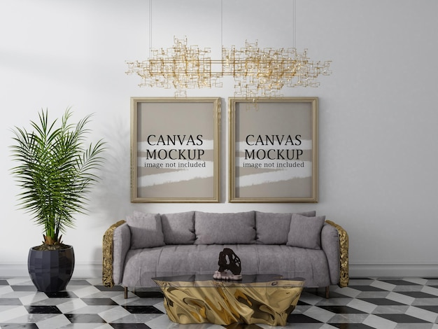 Duas molduras douradas em maquete de interior luxuoso