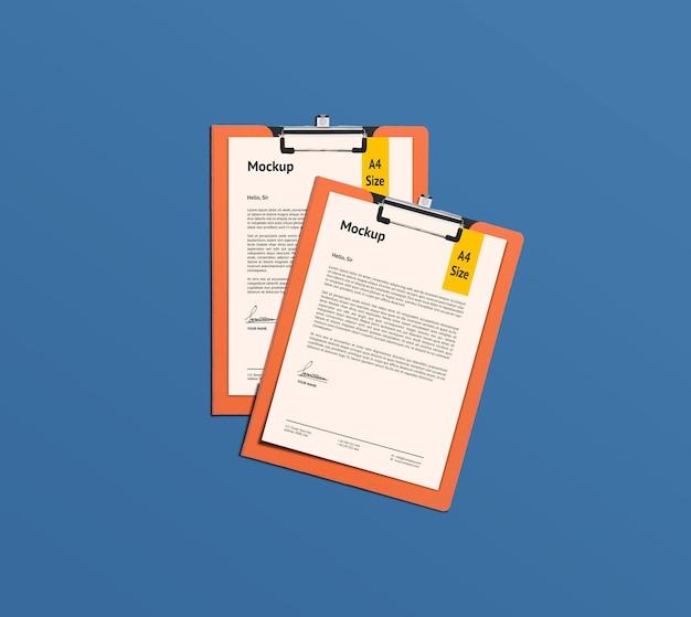 Duas páginas a4 e maquete da área de transferência