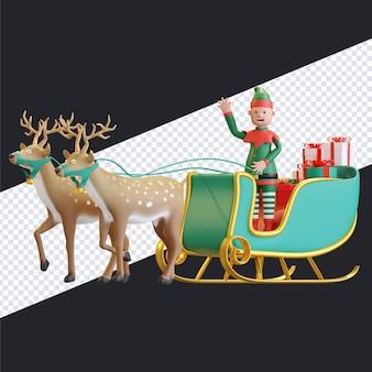 Duende de natal andando de trenó com duas renas carregando uma caixa de presente ilustração 3d render
