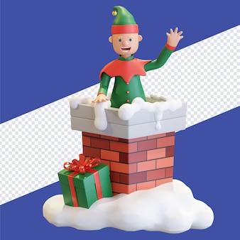 Duende de natal saindo da chaminé com caixa de presente ilustração de renderização 3d de natal