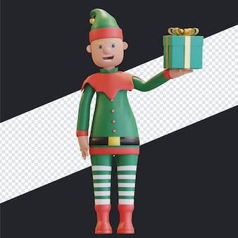 Duende de natal segurando uma caixa de presente com um rosto feliz. ilustração de renderização em 3d