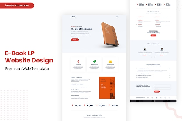 E book lp website design template