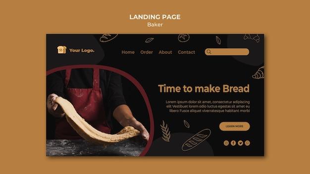 É hora de fazer pão na página de destino