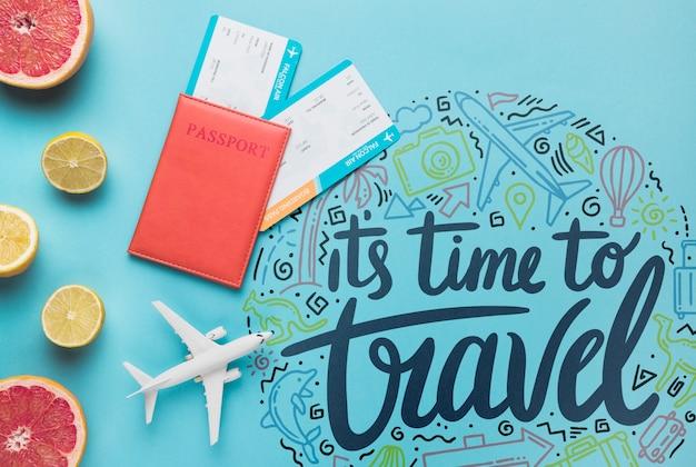 É hora de viajar, citação de letras motivacionais para férias viajando conceito