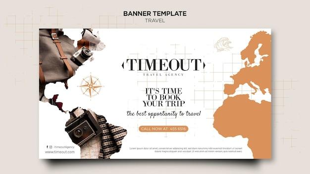 É hora do seu modelo de banner de viagem