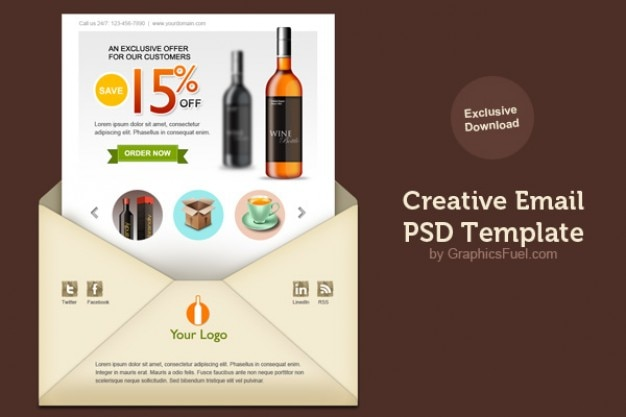E-mail newsletter criativo psd modelo