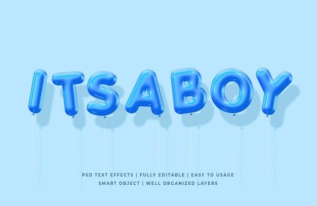 É um menino 3d balões modelo de efeito de estilo de texto