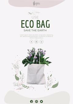 Eco bag para flores e flyer de compras