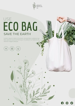 Eco bag para legumes e compras flyer quadrado