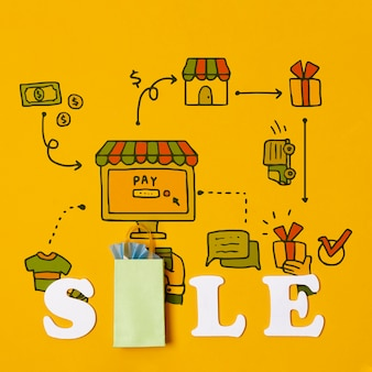 Economizando dinheiro e comprando produtos em vendas