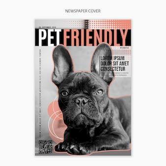 Edição de jornal com cachorro amigável na capa