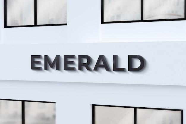 Edifício da parede da placa da loja de maquete do logotipo 3d