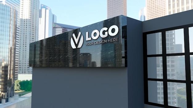 Edifício de empresa de maquete de logotipo de sinal 3d realista