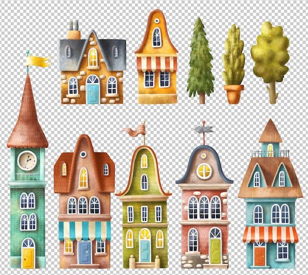 Edifícios dos desenhos animados mão coleção desenhada