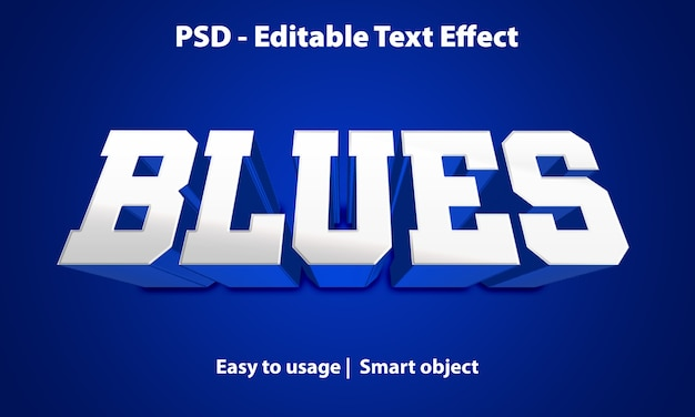Editable text effect blues