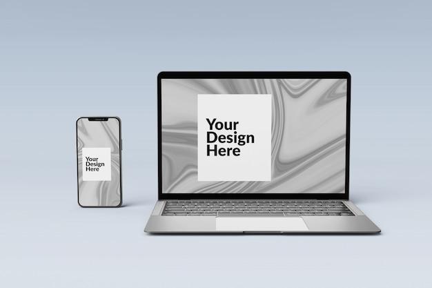 Editável conjunto de dispositivos digitais tela smartphone e laptop maquete