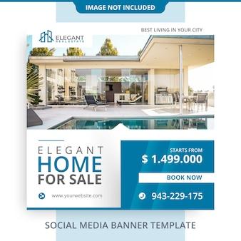 Editável elegante casa para venda imobiliária banner promoções