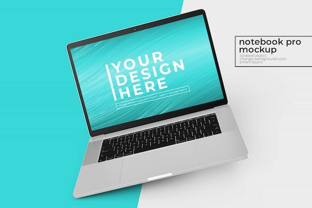 Editável fácil de editar notebooks de 15'4 polegadas pro psd mockups design s na posição inclinada para a esquerda