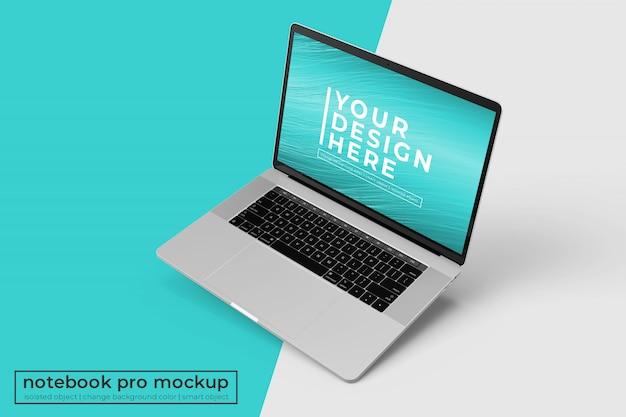Editável premium laptop pro psd mockup design s na posição inclinada direita na vista superior direita