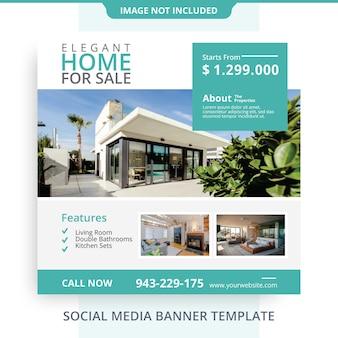 Editável simples minimalista casa para venda imobiliária banner promoções