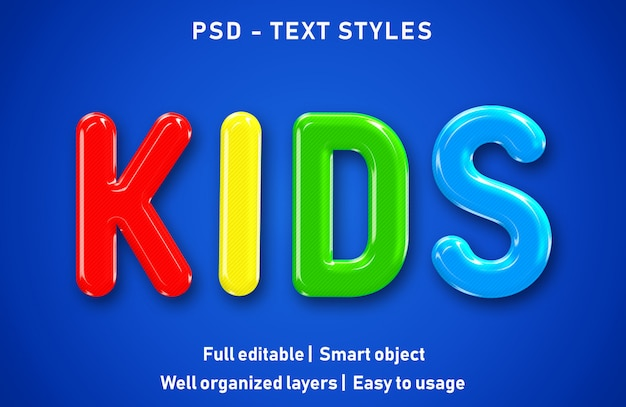 Editável text effect kids