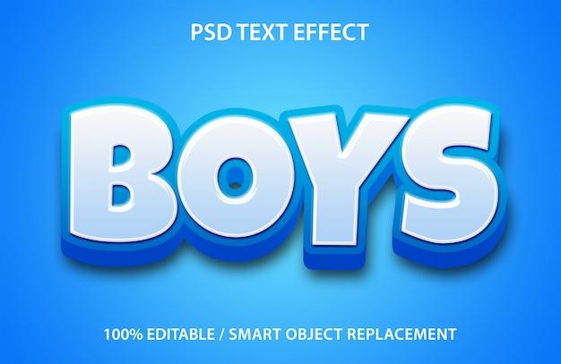 Editável texto efeito meninos
