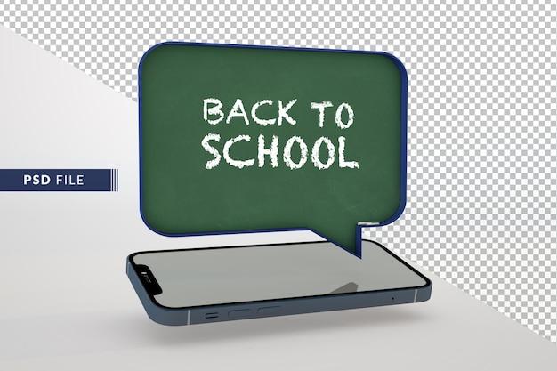 Educação digital on-line, internet e espaço em branco na lousa 3d e no telefone