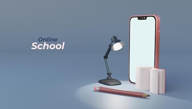 Educação escolar online 3d com smartphone