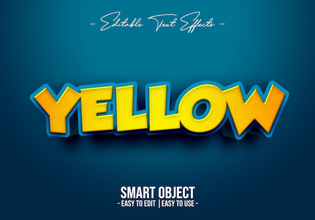 Efeito 3d de estilo de texto amarelo