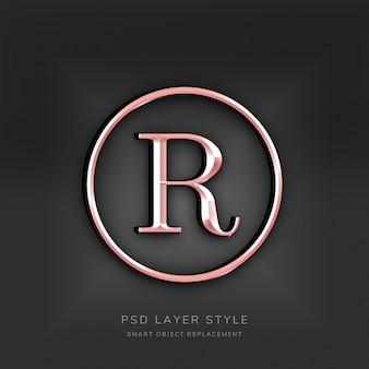 Efeito 3d de estilo de texto em ouro rosa Psd Premium