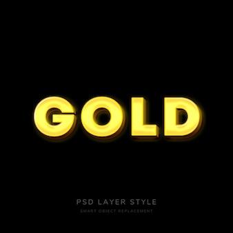 Efeito 3d de estilo de texto em ouro