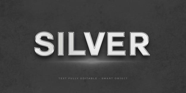 Efeito 3d de prata de texto